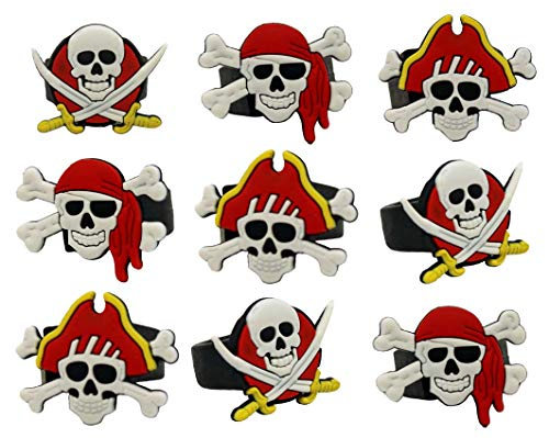 Jades Bands Pirate Party Favors - 24 Pack Caribbean Pirates Silicone Rings - Pirate Party Supplies - Great for Pirate Themed Parties! (24 Pirate Rings)]()