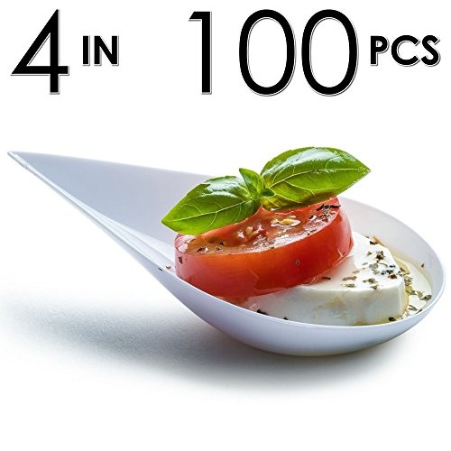 DLux Tear Drop Serving Cup, Mini Appetizer Plates with Recipe e-Book [White Plastic Pack, Set of 100] Small Catering Supplies, Bowls, Appetizers Dish, Disposable Dishes, Asian Tasting Spoons