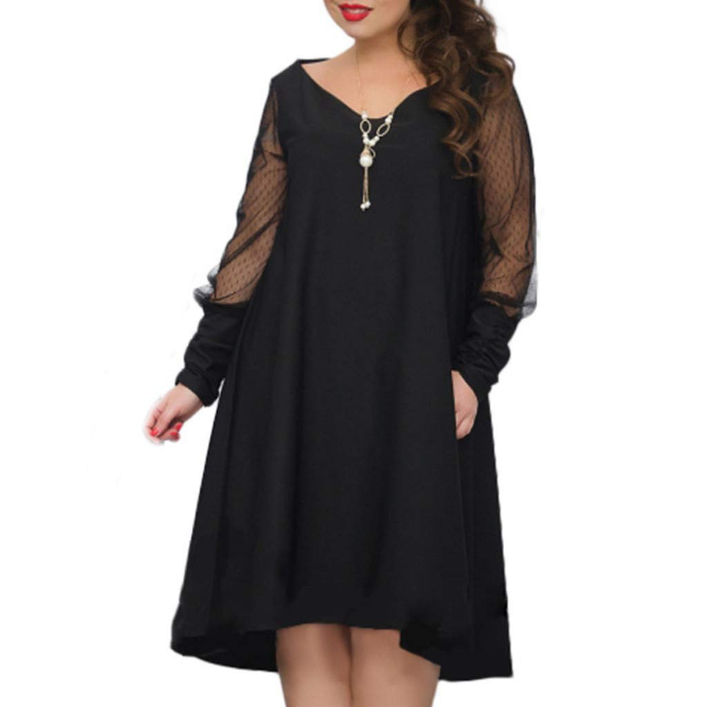 Women's Plus Size(6XL) Plus Size Long Sleeve Baggy Long Dress Ladies Party V-Neck Tunic Knee-Length Midi Dresses Tops (Black, XXXL)