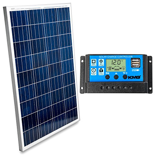 Grid Solar Tied System Power (100 Watts 12 Volts Polycrystalline Solar Panel + Charge Controller Combo - Fast Charging, High Efficiency, and Long Lasting - Perfect for Off-Grid Applications, Motorhomes, Vans, Boats, Tiny Homes)