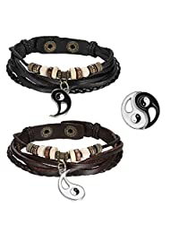 2pcs Mens Womens Adjustable Vintage Leather Braided Yin Yang Pendant Beads Charm Link Bracelet for Couples,Black Brown