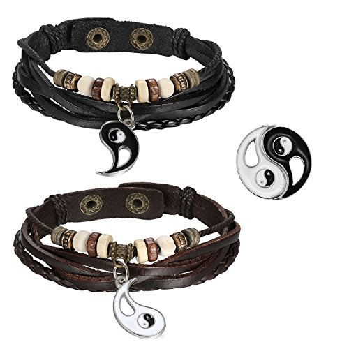 2pcs Mens Womens Adjustable Vintage Leather Braided Yin Yang Pendant Beads Charm Link Bracelet for Couples,Black Brown for $<!--$7.95-->