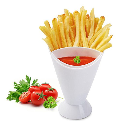 French Fries Ketchup (Set of 5 French Fry Cone Dipping Cups for French Fries and Veggies w/ Removable Dip Cup - BPA Free)