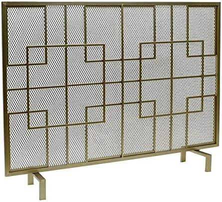 暖炉スクリーン シングルパネル 暖炉スクリーン 暖炉のドア、 錬鉄 クラシックファイアゲートスクリーンメッシュ、 屋内 大 フラットガード ガスストーブの付属品 (Color : Gold)