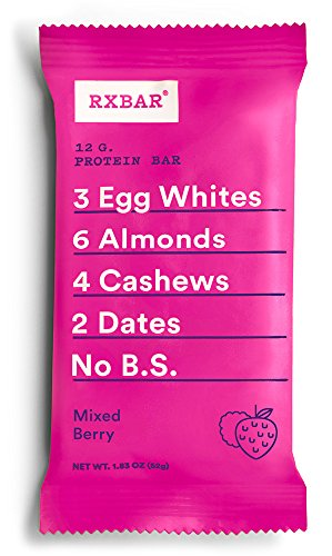 RXBAR Whole Food Protein Bar, Mixed Berry, 12 Count