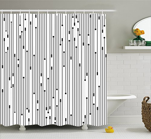 Modern Art Home Decor Shower Curtain by Ambesonne, Minimalist Line Display Contemporary Links Webs Signal Graphic Form, Fabric Bathroom Decor Set with Hooks, 70 Inches, Black (Contemporary Modern Curtain)
