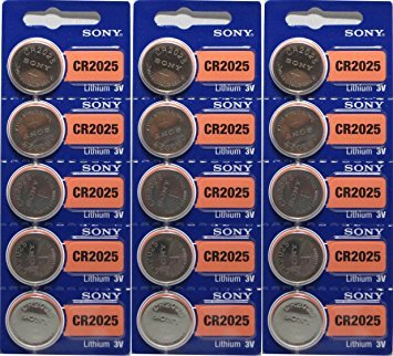 - 15 Genuine Sony CR2025 3v Lithium 2025 Coin Batteries Freshly Packed by Sony
