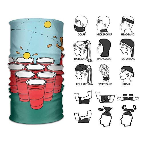 Siwbko Beer Pong Scarf Outdoor Multifunctional Elastic Seamless Scarf Sport Headwear,UV Resistence Performance Moisture Wicking Microfiber for Running, Yoga, Hiking, Travel by Siwbko