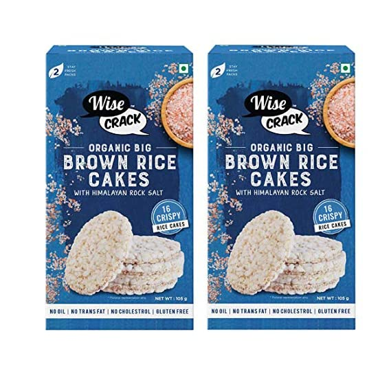 Wise Crack Organic Big Rice Cakes Brown Rice. Whole Grain Puffed Cracker, Crispy Healthy Snacks (105 Gm Each) Pack of 2