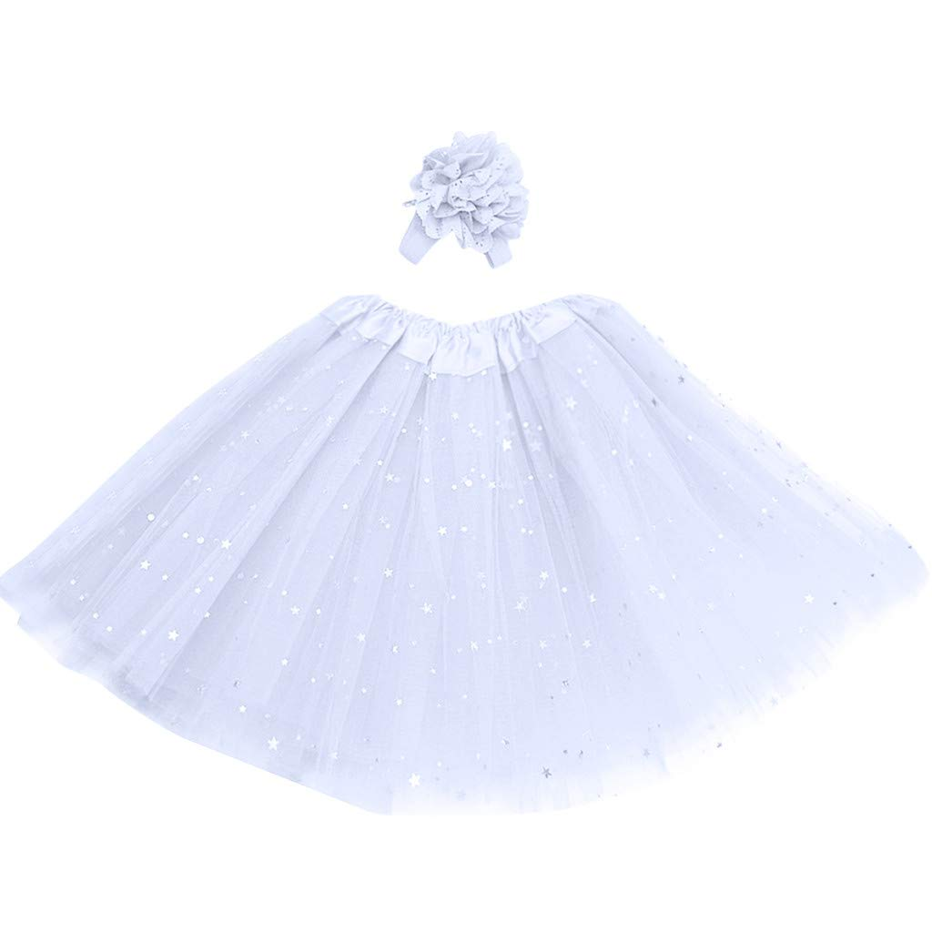 Lanhui Kids Girl Petticoat Paillette Star Tutu Skirt Pettiskirt Hair Band Dancewear (3-8 Years, White)