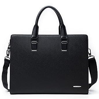 e41ecb76f42d BOSTANTEN Formal Leather Briefcase Shoulder Laptop Business Bag for Men  Black