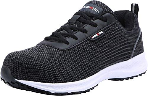 LARNMERN Steel Toe Shoes Men, Work Safety Sneakers Reflective Strip SRB Lightweight Industrial & Construction Shoe (10.5, Knit Black S1)