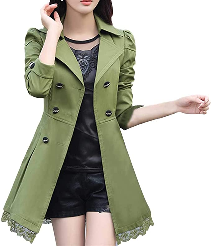 Frauen Mantel Damen Feste Mantel Arbeit Lange Ärmel Outwear Zweireiher