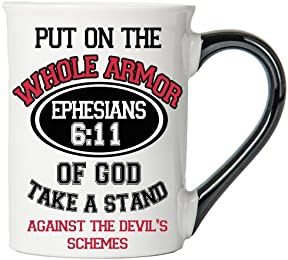 Put On The Whole Armor Of God Take A Stand Against The Devil's Schemes ( Ephesians 6:11) Mug , Inspirational Coffee Cup, Inspirational Mug, Ceramic Mug, Custom Inspirational Gifts By Tumbleweed