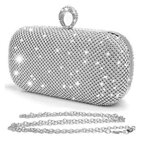 Women Glitter Diamond Rhinestone Clutches Evening Bags Handbags Wedding Clutch Purse,Shiny Silver