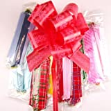 Meena Supplies Pack of 10 32mm Mixed Colour and Print Pull Bow Ribbons Pullbow PRINTED