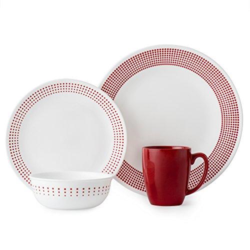 Corelle 3349A Dinner Set, Red/White