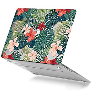 MacBook Air 13 Case, GMYLE Hard Case Print Glossy for MacBook Air 13 inch (Model: A1369/ A1466) - Tropical Plants(Red Hibiscus) Rubber Coated Hard Shell Case Cover