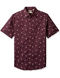 Men's Big and Tall Short Sleeve Micrographic Prints Woven Shirt