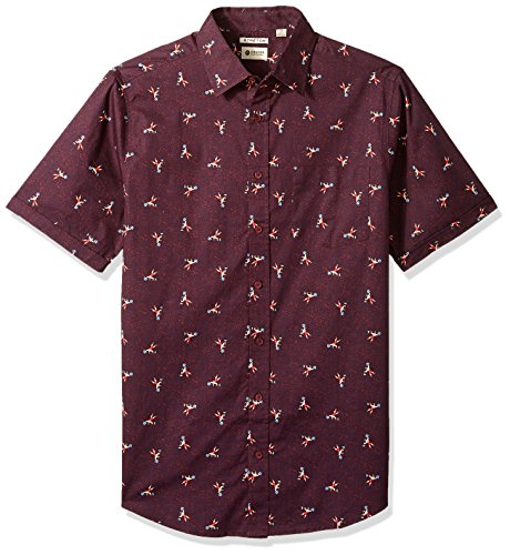 Haggar Men's Big and Tall Big&Tall Short Sleeve Micrographic Prints Woven Shirt, Zinfandel, Large