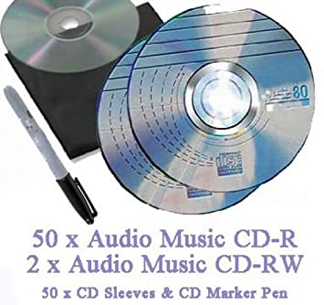Recordable Audio Music CD-R Pack 50 x 80 minute Blank Music CD (Compact  Disc Digital Audio Recordable) + 2 x Audio Music CD-RW + CD Sleeves to fit  +