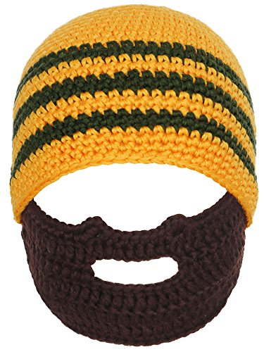 [Simplicity Toddler's Warm Winter Crochet Bearded Beanie Hats Caps, Orange Stripe] (Sailor Straw Hat)