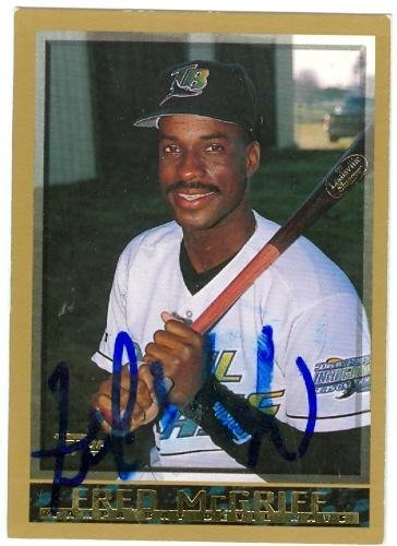 Fred Mcgriff Autographed Baseball Card Tampa Bay Devil Rays