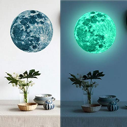 Moon Glowing Wall Decals,Fashion Fluorescent Wall Sticker, Removable Glow in The Dark Sticker DIY Art Decor for Walls Ceiling Kids Bedroom Living Room Nursery Girls and Boys (4.72in, Blue) (Girl Boy Water Fountain Umbrella)