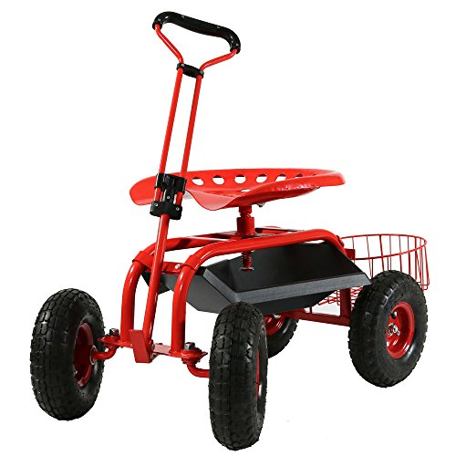 Gardening Wheels Stool (Sunnydaze Garden Cart Rolling Scooter with Extendable Steer Handle, Swivel Seat & Utility Tool Tray, Red)