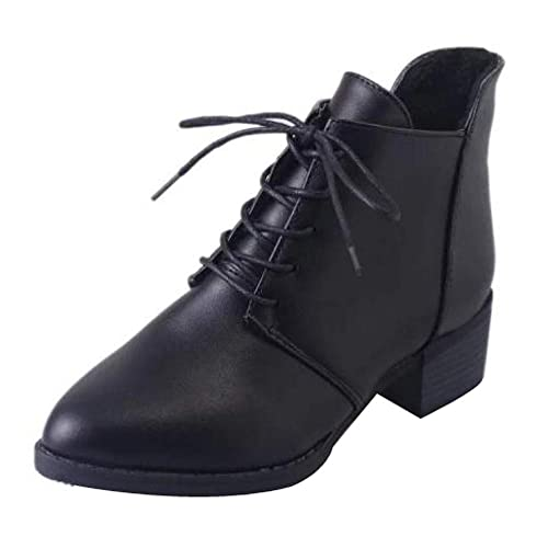 9f57825d2c521e Image Unavailable. Image not available for. Color  Creazrise Women s  Pointed Toe Lace up Low Chunky Heel Ankle Booties (Black ...