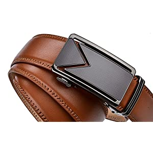 """Fire Kirin Men's Belts Leather Ratchet Dress Belt with Automatic Buckle - Delicate Gift Box (Waist:26-36"""", Brown strap with M buckle)"""