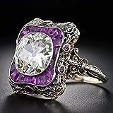 TAOtTAO Fashion Women Crystal Amethyst Silver Cubic Zirconia Band Ring Punk Jewelry Gift (US Size 6)