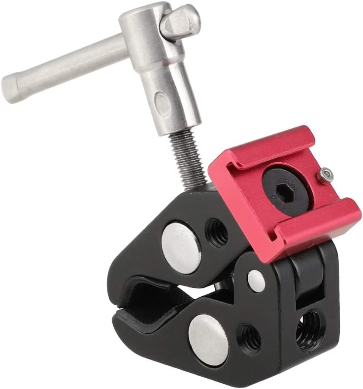 CAMVATE Super Crab Clamp with 1//4 /& 3//8 Thread Holes /& Red Shoe Mount