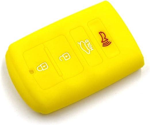 LIGHTKOREA 4 Button Silicone fob Remote Smart Key Case Protector Cover 1Pcs Compatible with Kia Cadenza K7 K900 Pink