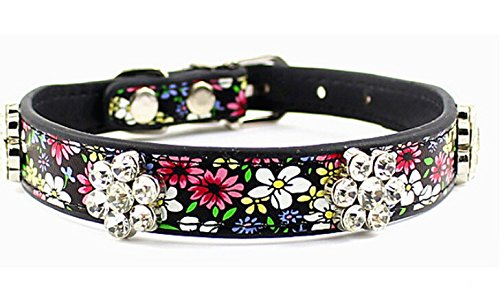 Designer Dog Collars - Dogs Kingdom Pet Collars For Dogs Adorable Floral Crystal Rhinestone Pet Collars Designer Dog Collar Black M