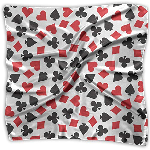 SUNNMOON Playing Card Suit Casino Pattern Silky Square Scarf Kerchief Neck Scarf ()