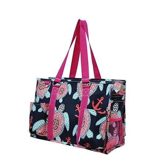 Ocean Themed Prints NGIL Large Travel Caddy Organizer Tote Bag (Sea Turtle W/ Anchors)