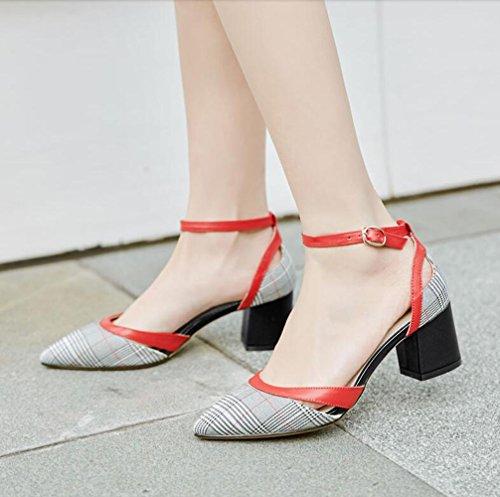 Groben Schuhe Frühling High Mode Heels Wies mit Schnalle Lattice XZGC XaBPqxwx