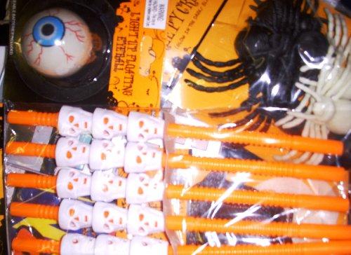 Light up Floating Eyeball & 5 Halloween Straw