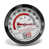 "DayMark IT115410 Stainless Steel Dishwasher-Safe Refrigerator/Freezer Classic Thermometer, 2.4"" Dial Size"