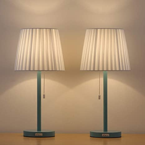 Haitral Contemporary Bedside Lamps 2 Set Of Table Lamps With White
