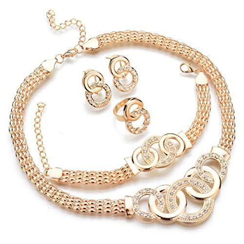 Spiritlele Jewelry Set Gold Vintage Crystal Matel Chain Necklace Bracelet Circle Ring Earrings Set for Women 4 Pack from Spiritlele