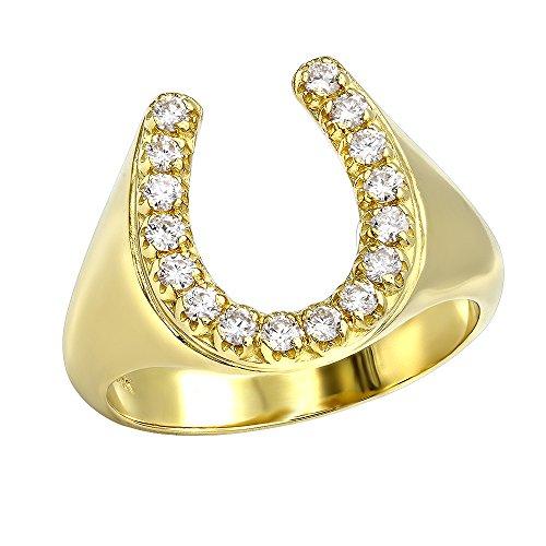 Ladies Horseshoe Diamond Ring (Diamond Horseshoe Ring for Men in 14k Gold 0.5ctw (Yellow Gold, Size 10))