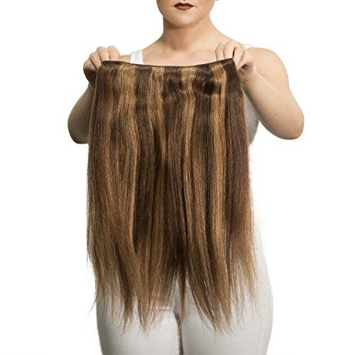 "Price comparison product image Sono 1 Count 105 g 20"" Solo Straight Sono 1 Count 100% Human Hair Extensions, #6/10 Dark Chestnut & Medium Ash"