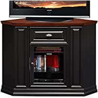 Leick 46  Corner TV Stand/Tall - Black and Cherry Finish