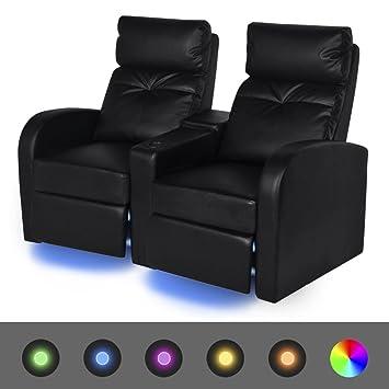 Cinema Sessel 2 Sitzer Sofa Kunstleder Led Fernsehsofa Schwarz 151 X