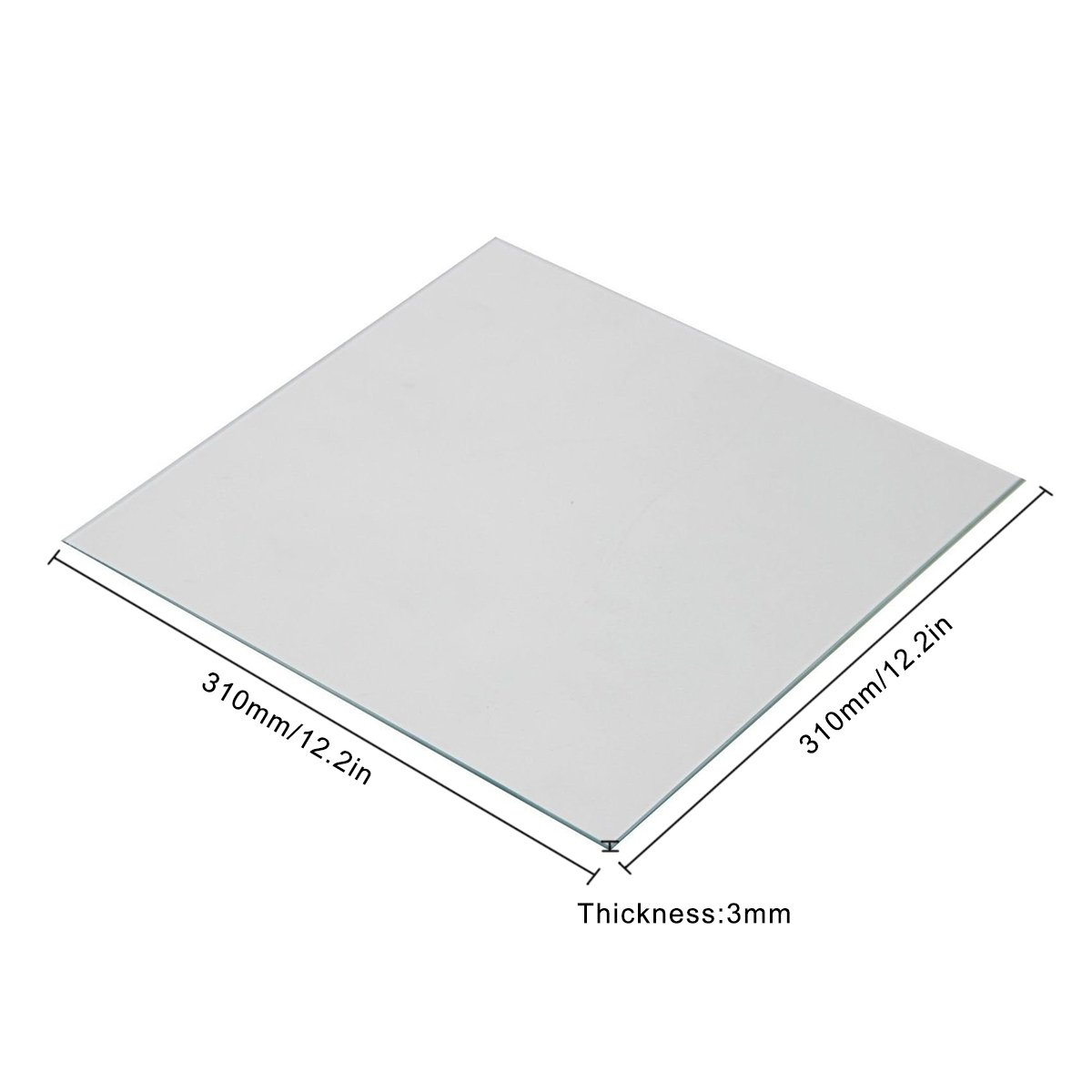 310mm x 310mm x 4mm Borosilicate Glass Build Plate 310 x 310 x 4mm with Polished Edges for 3D Printer CR-10 CR-10S S3 CR-X Heatbed