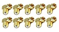 C&E 10 PCS, F Type Right Angle Female to Male Adapter Gold Plated, CNE583549