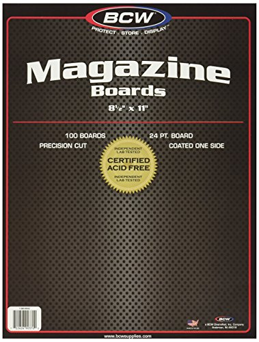 BCW-BBMAG - Magazine Size Backing Boards - White - (100 Boards) Collectible Magazine