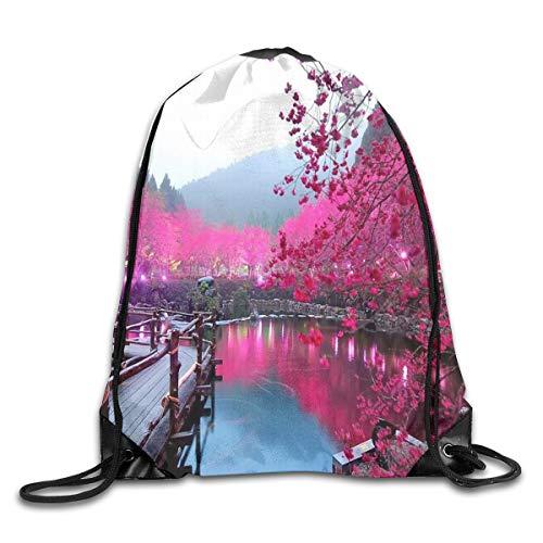 Drawstring Bag Japanese Cherry Blossoms Womens Gym Backpack Designer Mens Travel Canvas Bags For Senior